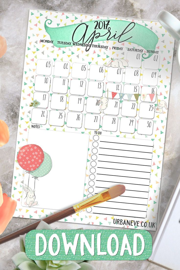 Printable Calendar for April 2017 - download this freebie and plan your Easter! :)