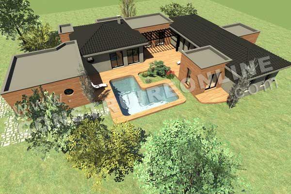 plan de maison plain pied contemporain modele intima plan. Black Bedroom Furniture Sets. Home Design Ideas
