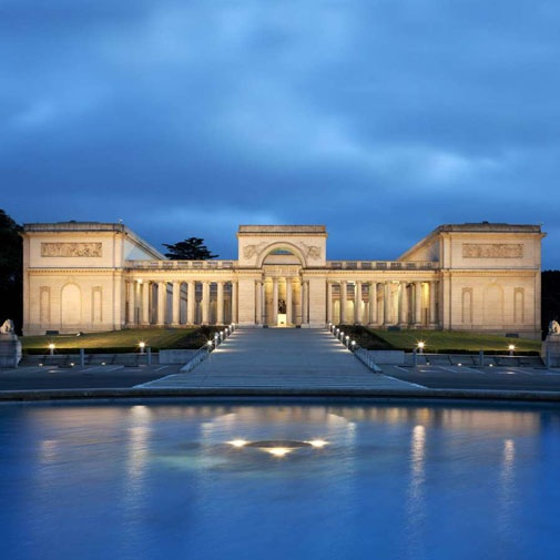 """""""Palace of the Legion of Honor, San Francisco"""" in 1924 by architect George Applegarth (1875 - 1972). Neoclassical. A gift for Alma Spreckels, wife of the sugar magnate Adolph B. Spreckels. The Legion of Honor was a three-quarter-scaled adaption of the 18th century Palais de la Légion d'Honneur (Hôtel de Salm) in Paris. The museum building occupies an elevated site in Lincoln Park in the northwest of the city, displays a collection spanning more than 6,000 years of ancient and European art."""