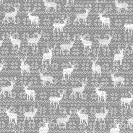 Winter Warmth Cotton Prints - Reindeer - Grey