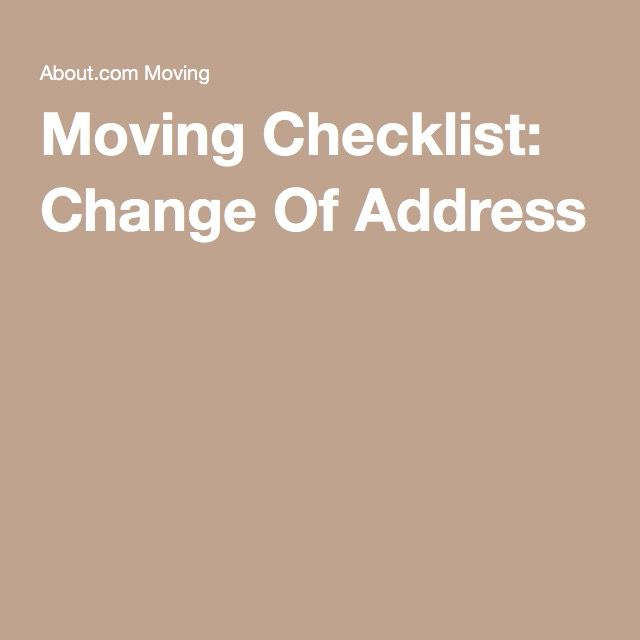 Moving Checklist: Change Of Address