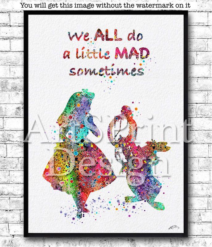 Rainbow Alice in Wonderland Quote Watercolor Print White Rabbit Poster Nursery #Watercolor