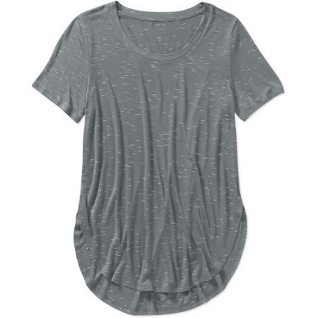 Faded Glory Women's Jegging T-Shirt Crew Neck, Size: 2XL, Gray