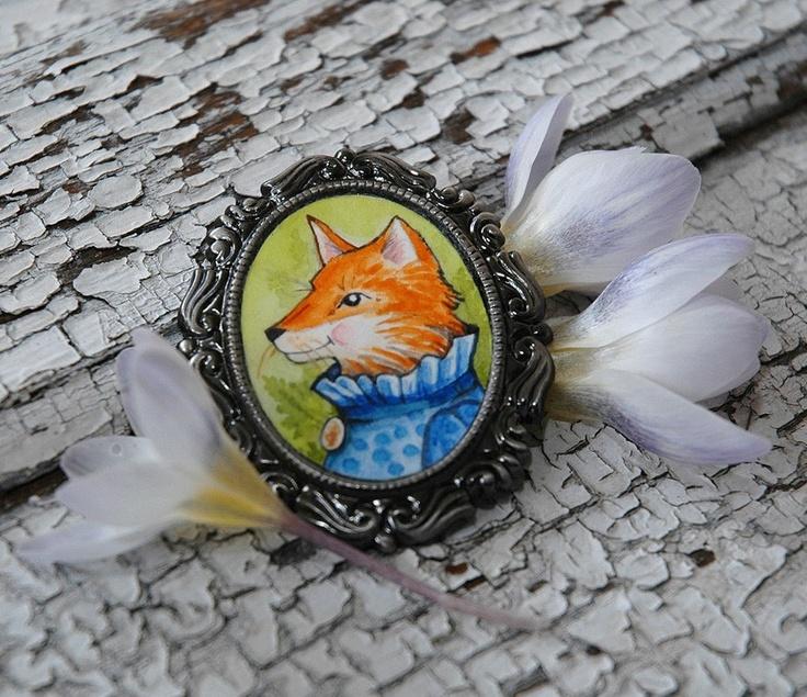 Original Watercolor Cameo Brooch- Felicity fox: Black Coats, Foxes Items, Originals Watercolor, Foxes Frenzi, Watercolor Cameo, Jewelry Rocks, Etsy Jewelry, Cameo Brooches, Felicity Foxes