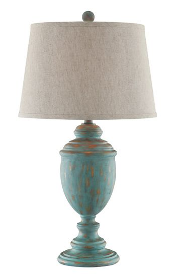 Hallie Distressed Blue Table Lamp in Blue | Stein World Furniture | Home Gallery Stores