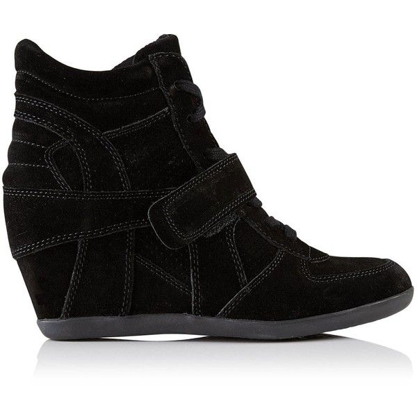 Ash Bowie Wedged Trainers (£170) ❤ liked on Polyvore featuring shoes, sneakers, black, wedged sneakers, black trainers, sports shoes, wedge sneakers and perforated sneakers
