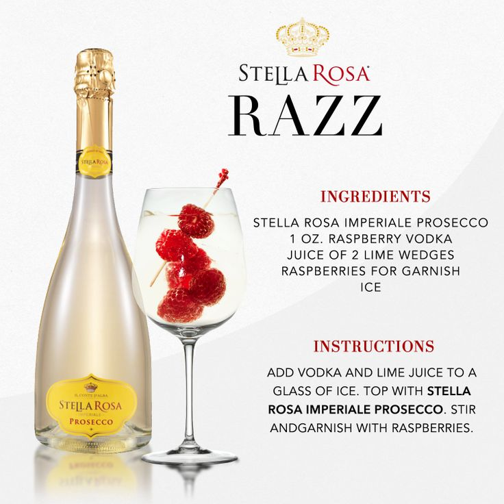 Stella Rosa original recipes: Stella Rosa Razz, with Stella Rosa Imperiale Prosecco. Video instructions: http://www.youtube.com/watch?v=MR9pWJ4s5KY