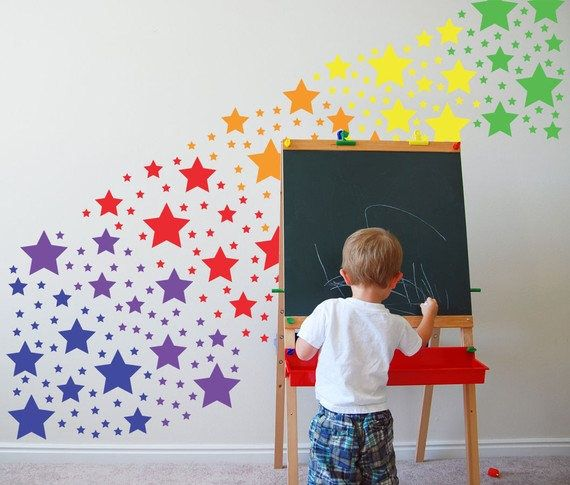 Rainbow Colorful Stars Wall art Decal Stickers vinyl Girl Room Kids Baby Nursery by walldestickers on Etsy https://www.etsy.com/uk/listing/579076152/rainbow-colorful-stars-wall-art-decal