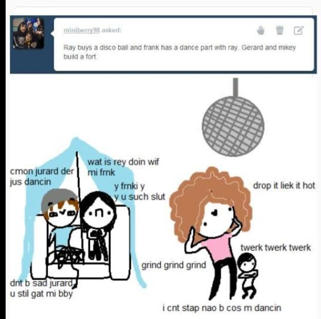 Badly drawn mcr on tumblr is one of the best blogs ha