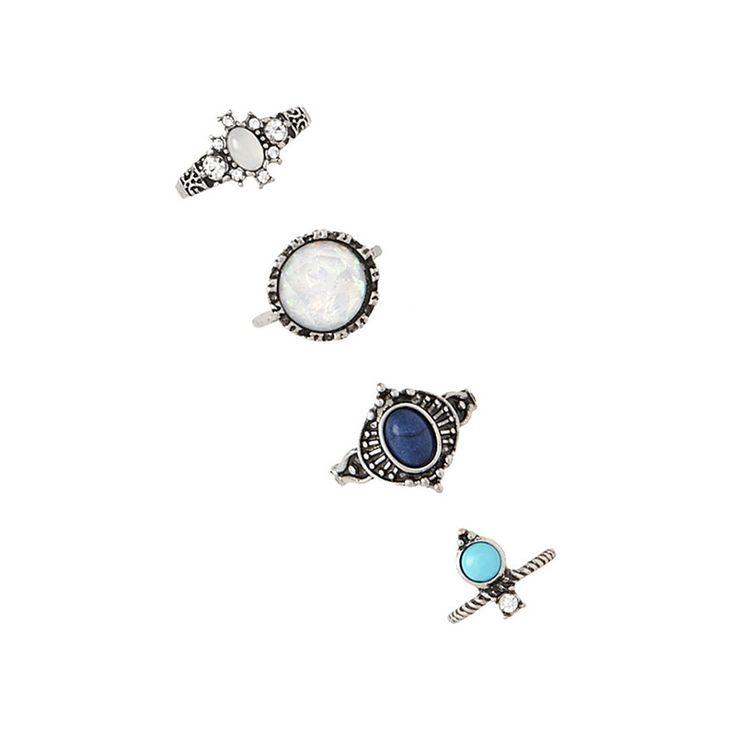 4pc/set Bohemian Vintage Turquoise Ring Set Women Ethnic Antique Silver Plated Gem Stone Crystal Finger Rings Boho Charm Anelli