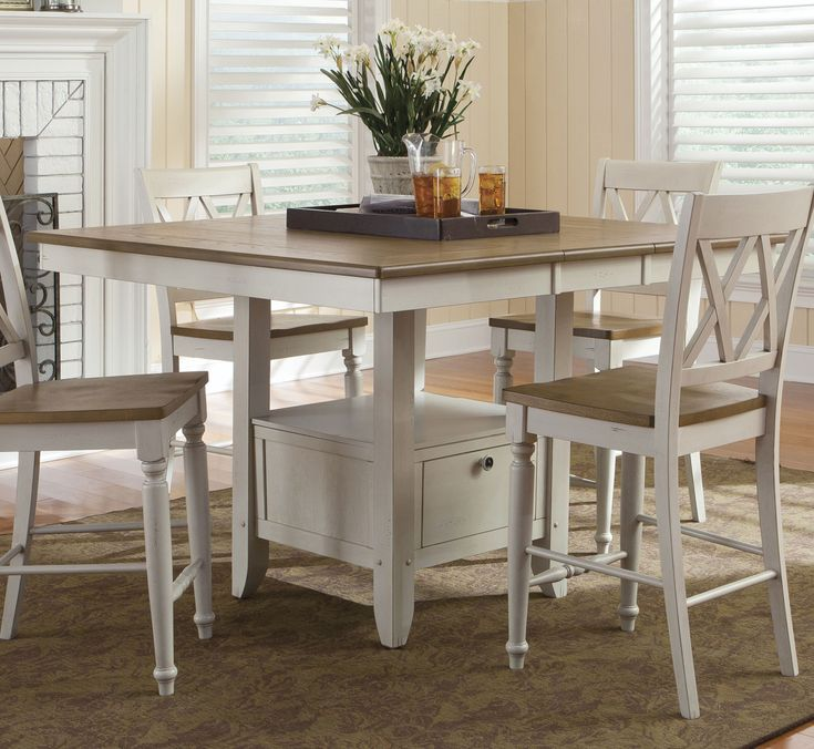 #538 Alfresco Home Rectangular/Square Pedestal Counter Height Table by Liberty - Home Gallery Stores
