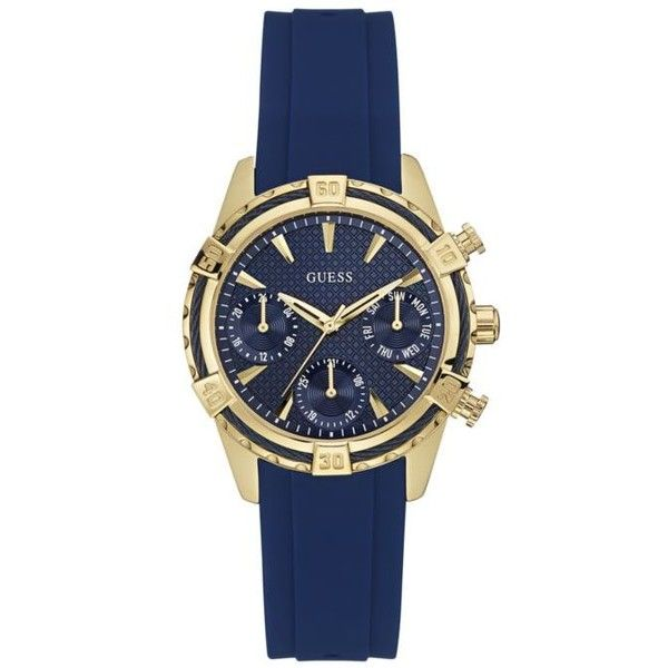 Guess Blue Womens Blue And Gold-Tone Nautical Sport Multifunction... ($125) ❤ liked on Polyvore featuring jewelry, watches, blue, sport watches, water resistant watches, gold tone watches, nautical jewelry and polish jewelry