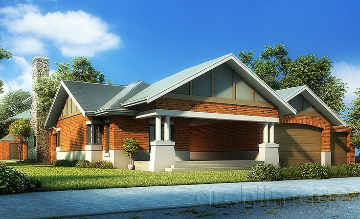 Architectural Render of a traditional Australian house design. House designed by Boyd Design Perth.