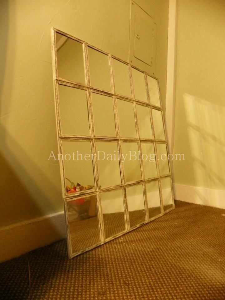 Pottery Barn White Paned Mirror DIY Knock off Photo Tutorial for $30