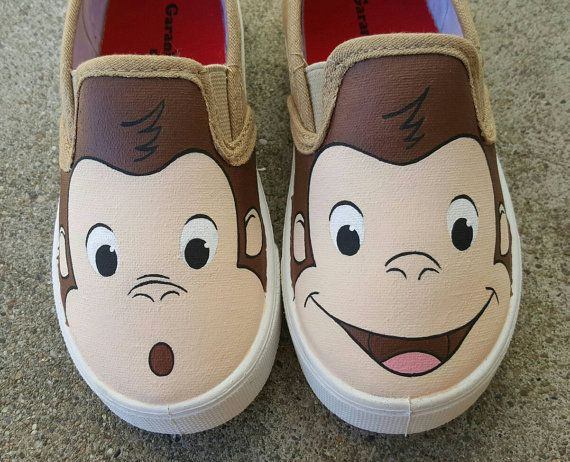 Curious George shoes size 9 toddler by ArtByAmmo on Etsy