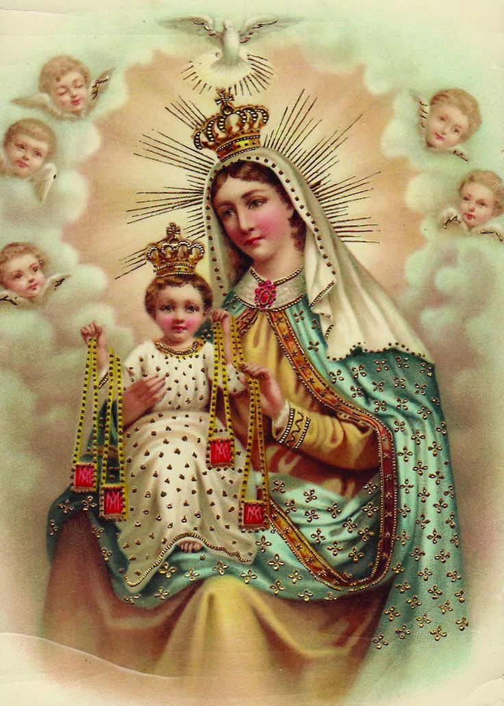 "Glossy full-color print of ""Our Lady of Mt. Carmel"" vintage postcard image suitable for framing. A Full of Grace USA Original Product Printed on Sterling Premium photo paper (made in U.S. paper mills"