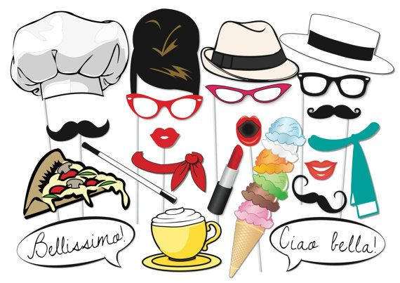 Here is the ultimate collection of Italian photo booth props! Tons of Fun!! Great for a Bon voyage or travel party as a table centre piece or photo booth!  Contains 20 pieces:  ♥ Italian Chef hat ♥ Big slice of pizza ♥ Lips ♥ Moustaches ♥ Italian Hats ♥ glasses ♥ Very tall Italian ice cream ♥ cappuccino ♥ long cigarette ♥ Bellissimo speech bubble ♥ Ciao Bella speech bubble ♥ Italian scarfs ♥ Lipstick  This listing includes one (15) page PDF file with 20 photo props.  This listing is for the…