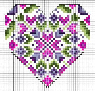 Heart perler bead or cross stitch pattern