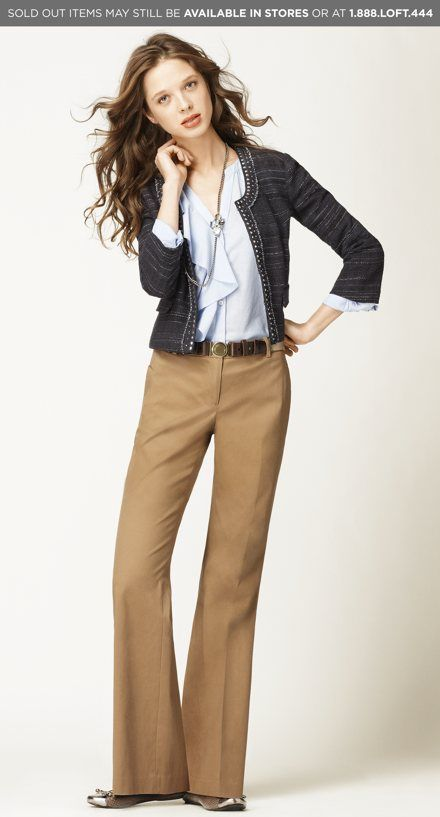 Ann Taylor Loft -- cute for work (Do you have to be this thin though to pull it off?!) This would be perfect for work. Love the subtle colors and the layers.