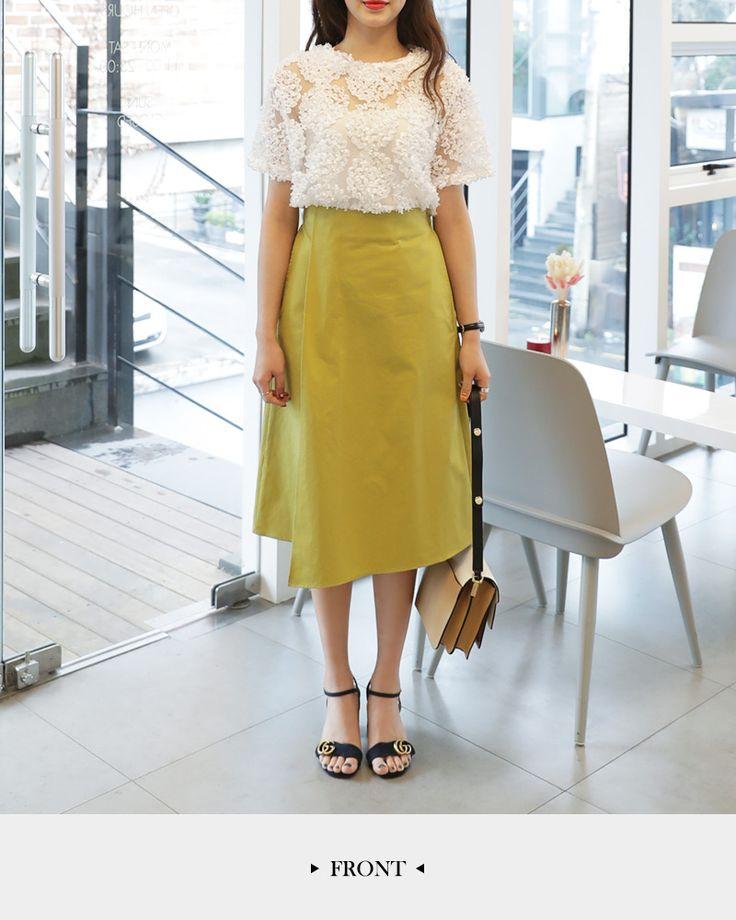 【楽天市場】バックゴムアンバランスAラインスカート・全3色・b47398 レディース【sk】【人気 ミディスカート ひざ丈】:DHOLIC【ディーホリック】