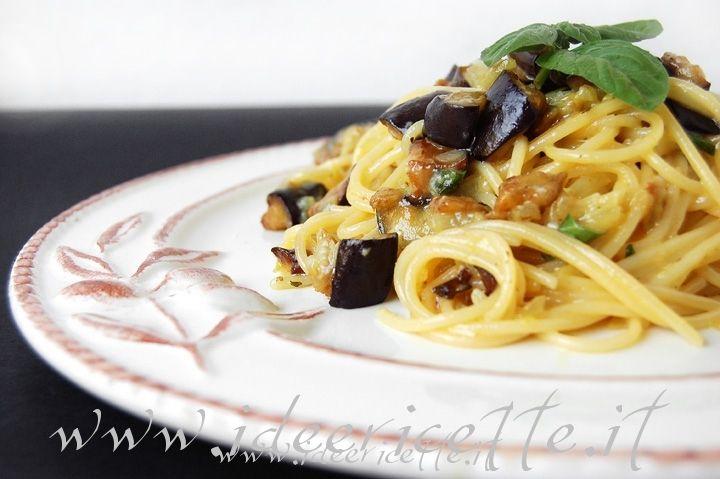 Ricetta Spaghetti alla carbonara di melanzane