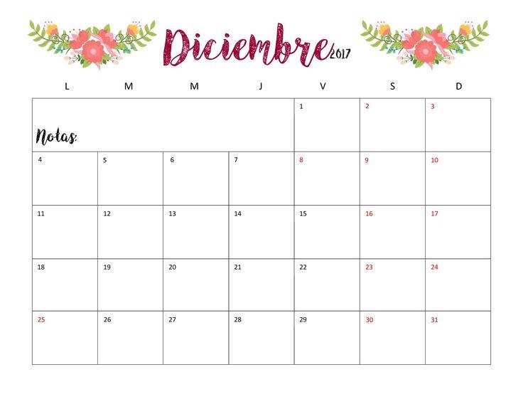 calendario diciembre 2018 para imprimir
