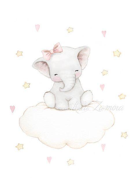 Kindergarten Kunst ELEFANT CLOUD Kunstdruck, rosa Illustration. Kleiner Elefant für Mädchen