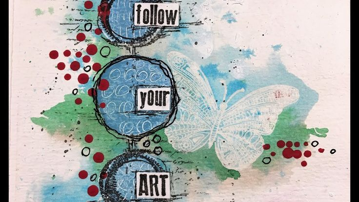 Follow your ART, art journal page with Rubber Dance Stamps Video Tutorial