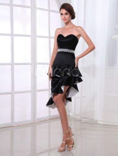 Vestido de cóctel de satén elástico de color negro con escote de corazón  -No.1