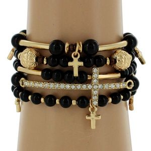 5-Strand Black and Goldtone Beaded Cross Stretch Bracelet