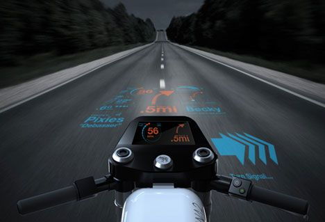 Rana 2 motorcycle. A series of on road projected augmented reality graphics