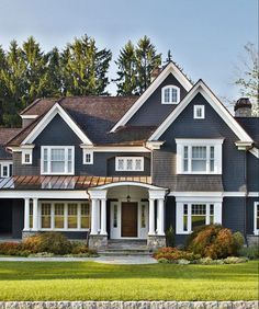 new exterior color - deep slate blue, deep brown shingle roof