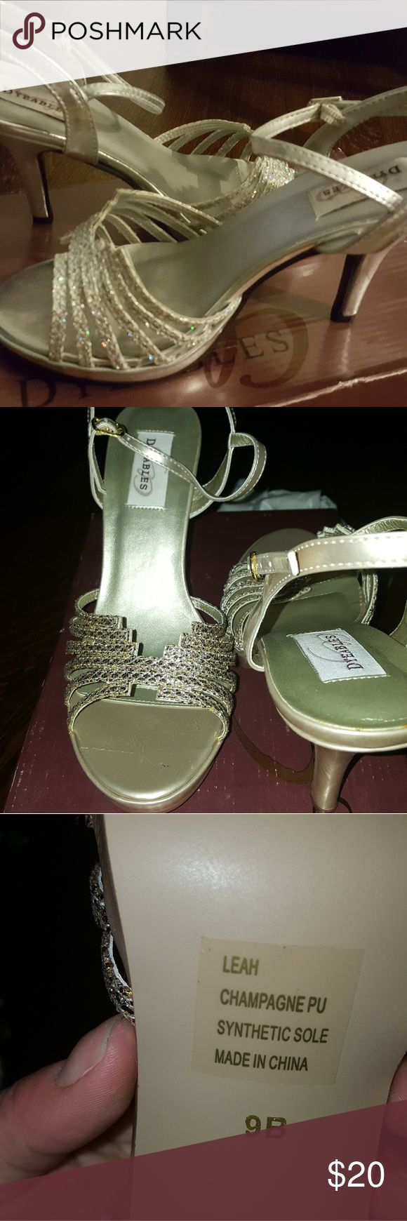Dyeables (Leah) champagne wedding shoes. Champagne gold bridesmaid shoes, worn once. 3-3.5 inch heels. Dyeables Shoes Heels