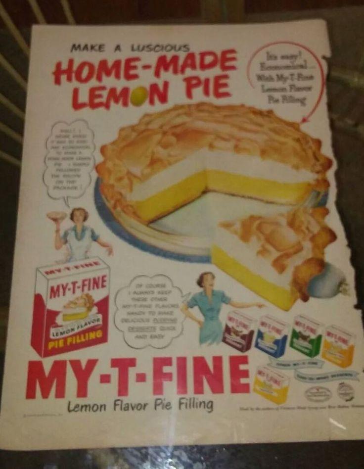 Vintage 1950 My T Fine Lemon Flavor Pie Filling Print Art ad