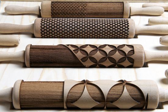 Laser-etched rolling pins make your pastry patterned. Via Dezeen.