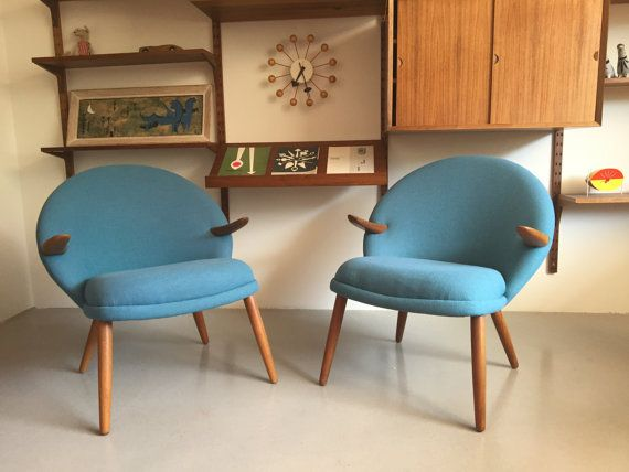Two beautiful midcentury modern reupholstered chairs by Kurt Olsen for Glostrup…