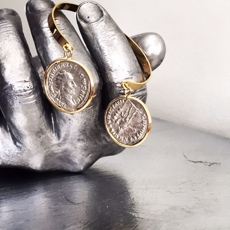 Silver ancient roman coins in 18 Kt gold bracelet