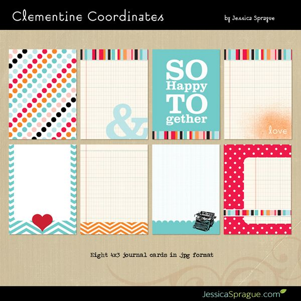 Clementine Coordinates Project Life journaling cards by Jessica Sprague - freebie