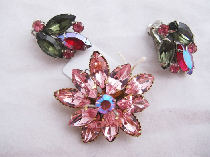 Pink Flower Vintage Brooch, Crystals, Bling, On Trend, Roll Over Clasp, Easter by DesignerShowcase on Etsy