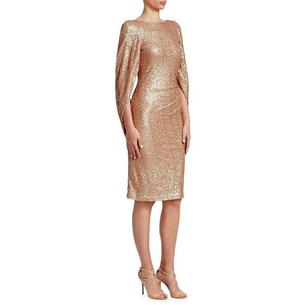 Teri Jon by Rickie Freeman Sequined Knee-Length Dress (£410) ❤ liked on Polyvore featuring dresses, ruched dress, beige sequin dress, sleeved dresses, shirred dress and sequined dress