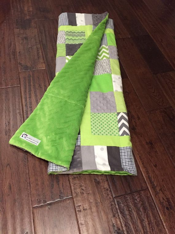 Cute modern baby quilt. Lime green and grey nursery.