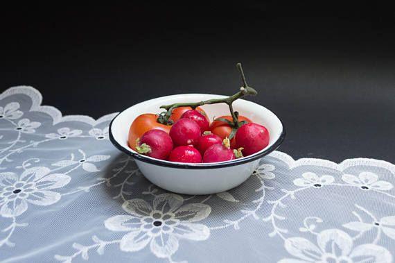 Vintage enamel bowl white enameled metal bowl camping dish