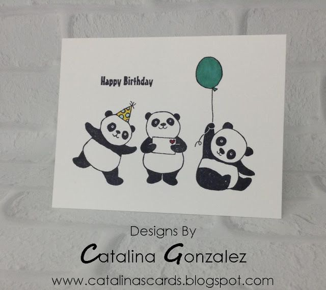 Quick Easy Card 105 Sab Party Panda Stamp Set Birthday Card Catalina S Cards Simple Cards Panda Card Kids Birthday Cards