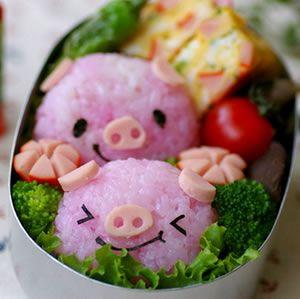 #food #cute #cuteness #pig #piggies #musubi #riceball #bento #lunchbox #lunchPiggie, Rice Bowls, Little Pigs, Birds Food, Baby Pigs, Food Design, Husband Birthday, Food Art, Cute Food