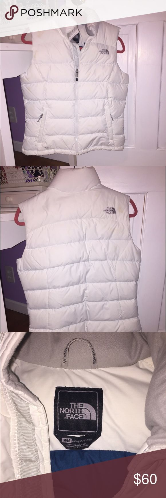 White North Face Vest Beautiful warm white North Face jacket. In perfect condition- very lightly worn! North Face Jackets & Coats Vests