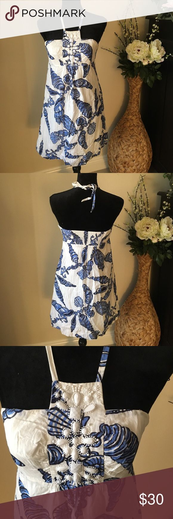🌸Lilly Pulitzer tie neck  sea shell dress SZ 4 🌸Lilly Pulitzer tie neck  sea shell dress SZ 4... 26 inch from top of chest -- moving sale #bundleit! Lilly Pulitzer Dresses