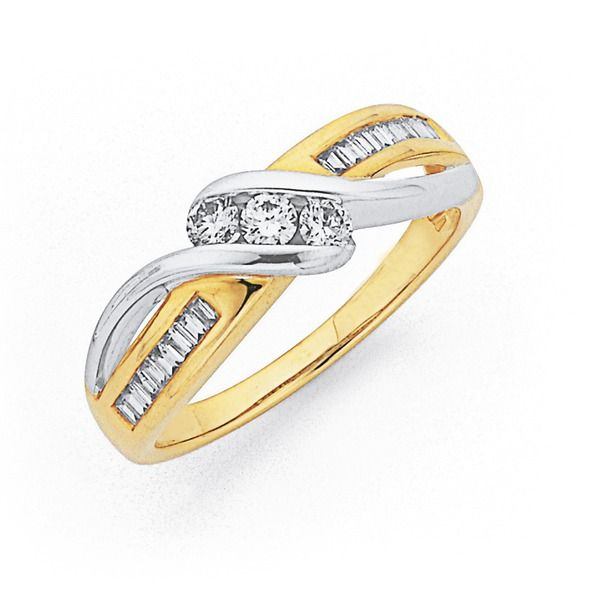 9ct, Two Tone Diamond Ring Total Diamond Weight=.33ct | Pascoes The Jewellers