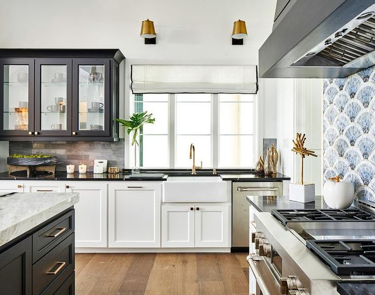 black glass front upper cabinets mismatched with white lower cabinets accented with brass on kitchen cabinets upper id=62047