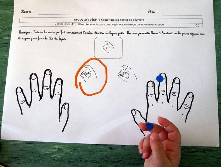 Quelques idées inspirées de Danièle Dumont, pour apprendre à bien tenir le crayon en Petite Section…  Je travaille d'abord...
