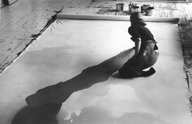 Helen Frankenthaler working on a canvas. (I wish to have my own studio one day, allowing me to work on canvas as big as such that.)